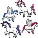 Lot of 4 Pegasus unicorn fantasy horse 70s retro appliques iron-on patches new