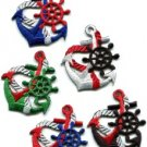 Lot of 5 anchor tattoo red biker retro ship boat sew appliques iron-on patches