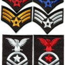 Lot of 6 army navy military insignia rank biker appliques iron-on patches M-2