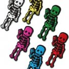 Lot of 6 skull skeleton goth punk emo horror biker sew appliques iron-on patches