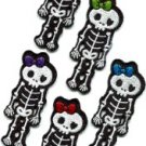 Lot of 5 skull skeleton goth punk emo horror biker sew appliques iron-on patches