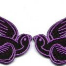 Lot of 2 lavender bird tattoo swallow dove biker applique iron-on patches