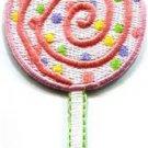 Lollipop sucker candy sweets retro kids sticky-pop applique iron-on patch S-668