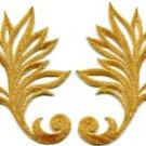 Gold trim fringe leaves retro boho art deco applique iron-on patches pair S-534
