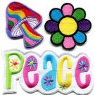 Lot of 3 peace sign mushroom flower hippie retro applique iron-on patches P-5
