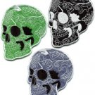 Lot of 3 skull tattoo horror biker goth punk metal appliques iron-on patches