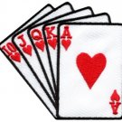 Straight flush playing cards biker retro poker applique iron-on patch new S-598
