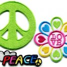 Lot of 3 peace sign hippie retro love boho weed appliques iron-on patches P-4