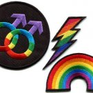 Lot of 3 gay lesbian pride rainbow disco boho LGBT appliques iron-on patches G-1