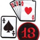Lot of 3 poker ace of spades playing cards lucky 13 applique iron-on patches L-6