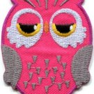Owl bird of prey hoot animal wildlife pink applique iron-on patch new S-328