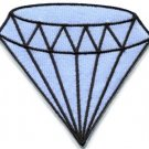 Blue diamond gemstone carat retro kitsch jewelry applique iron-on patch S-818