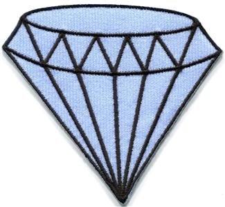 Blue diamond gemstone carat retro kitsch jewelry applique iron-on patch S-818