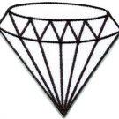 White diamond gemstone carat retro kitsch jewelry applique iron-on patch S-817
