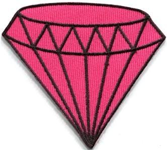 Pink diamond gemstone carat retro kitsch jewelry applique iron-on patch S-819