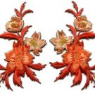 Orange flowers pair floral bouquet applique iron-on patches new S-828 FREE WORLDWIDE DELIVERY!