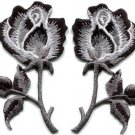 Black roses pair flowers gothic rock & roll applique iron-on patches S-1035 FREE WORLDWIDE DELIVERY!