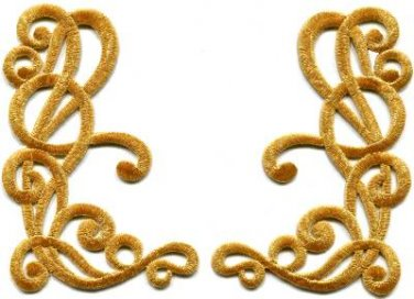 Gold trim art deco leaves glitter applique iron-on patches pair new S-1161 FREE SHIPPING WORLDWIDE!