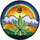 Pot leaf aum om hippie weed marijuana applique iron-on patch new T-13 WORLDWIDE DELIVERY IS FREE!