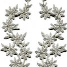 Silver flowers boho granny chic applique iron-on patches pair S-1185 WE SHIP ANYWHERE FOR FREE!