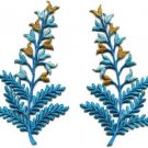 Fern flowers blue gold pair floral applique iron-on patches new S-1152 WE SHIP ANYWHERE FOR FREE!