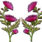 Carnation spray pink pair flowers applique iron-on patch S-737 FREE SHIPPING WORLDWIDE!