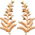 Fern flowers peach gold pair floral applique iron-on patches new S-1155 FREE WORLDWIDE DELIVERY!