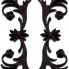 Black trim fringe leaves sew applique iron-on patches pair S-1119 WE SHIP ANYWHERE FOR FREE!