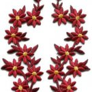 Ruby red flowers floral boho applique iron-on patches pair S-1158 WE SHIP ANYWHERE FOR FREE!