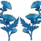 Blue carnation spray pair flowers floral applique iron-on patches S-755 WORLDWIDE DELIVERY IS FREE!