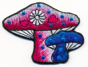 Mushroom hippie boho retro embroidered applique iron-on patch T-34 WORLDWIDE DELIVERY IS FREE!