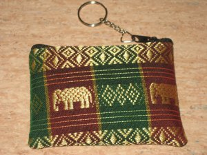 red and green elephant design wallet