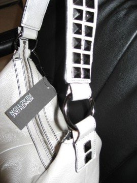 Silver Leather Handbag by Kenneth Cole