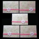 Five 5 Handmade Cards Card Pink and Green Motif