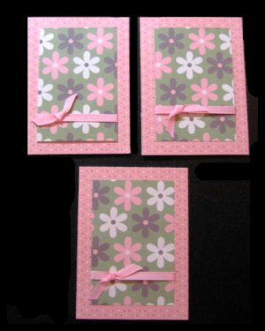 Three 3 Handmade Cards Card  Pink  and Green Grosgrain Ribbon