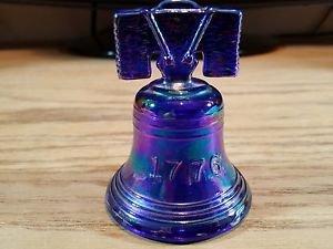 Joe St. Clair Glass Art Liberty Bell Iridescent Blue