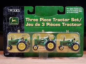 John Deere B, G, and H Three Piece Tractor Set Ertl Diecast 1:64