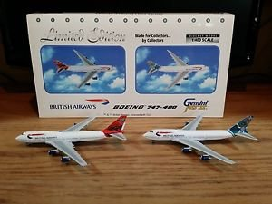 Gemini Jets Boeing 747-400 British Airways Airplanes Set of 2 1:400