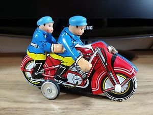 Vintage Tin Friction Motorcycle with 2 Policemen MF162