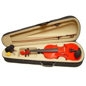 Violin Factory Solid RED color Violin + Bow + Case + Rosin Complete Set
