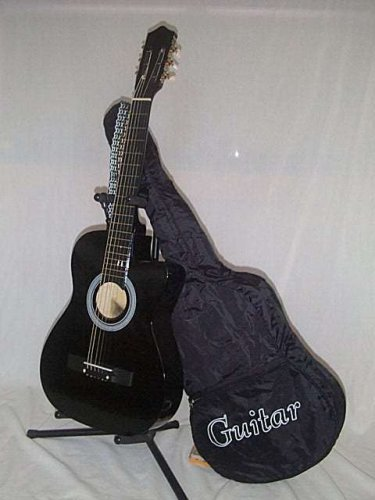 """38"""" Black Cut Away Guitar with Carrying Bag And Accessories"""