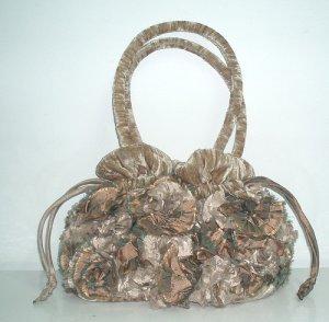 Velvet Handmade Swirl Flower Drawstring Handbag / Purse