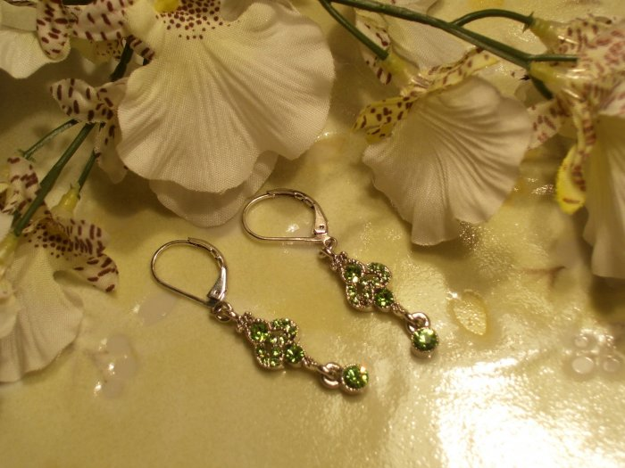 Silver and Green Crystal Chandelier Earrings-18292