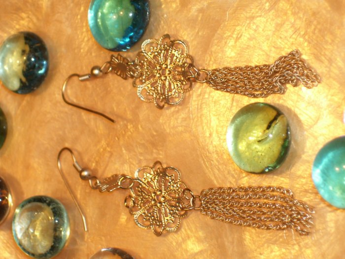 Gold ball filigree dangling earrings-18294