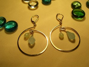 Gold aqua earrings-23113