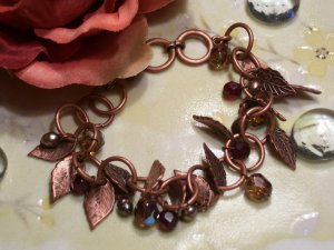 Brass leaf with red beads bracelet-25416