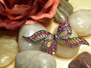 Pink Crystal Bow Pin-67112