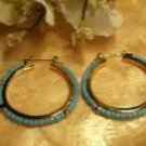 Gold and Turqoise Hoop Earrings-25578