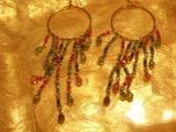 Beaded pink blue green gold dangling earrings-25579