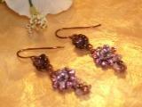 Brass beaded pink dangling earrings-40325